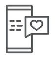 love message line icon chat and romance romantic vector image vector image
