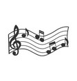 music staff with notes sketch vector image