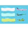 Plane flying with advertising banners vector image vector image