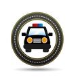 police car front circle road way design vector image