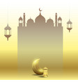 ramadan kareem with moon lantern and mosque vector image