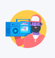 rapper musician in a baseball cap with boombox vector image