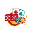 retro emblem for casino or poker club with playing vector image vector image