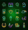 saint patrick day neon icons vector image vector image