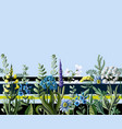 seamless border of wild flowers vector image
