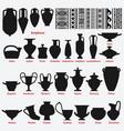 set antique greek vases and border decoration vector image vector image