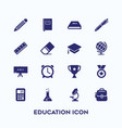 simple set education icon in dark blue color vector image