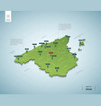 stylized map spain isometric 3d green map vector image
