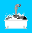 submarine in bath periscope of foam in bathroom vector image