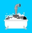 submarine in bath periscope of foam in bathroom vector image vector image
