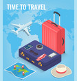 travel equipment in isometric style travel and vector image