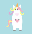 unicorn holding heart kawaii face pastel color vector image vector image