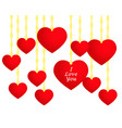 valentines day hanging red hearts vector image vector image