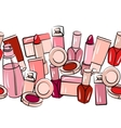 various cosmetics in seamless border vector image