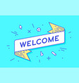 welcome vintage ribbon banner vector image vector image