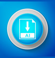 white ai file document icon download ai button vector image vector image