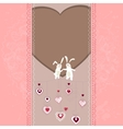 Easter card with hearts and rabbits vector image