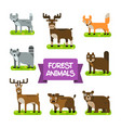 forest animals set in flat design vector image
