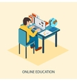 Online education Students are taught online vector image