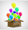 air ballons in a cardboard box cargo delivery vector image vector image