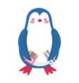back to school penguin pencils color watercolor vector image vector image