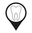 black and white dental clinic map sign silhouette vector image