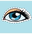 Blue female eyes girl or woman label sticker vector image vector image