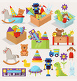 boxes of kid toys stuffed vector image vector image