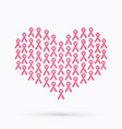 breast cancer awareness pink ribbon heart shape vector image