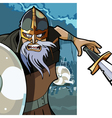 cartoon angry man Viking with a sword vector image vector image