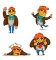 cartoon boy emotions set vector image vector image