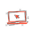 cartoon laptop notebook with mouse cursor icon in vector image vector image