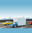 cartoon truck on highway vector image vector image