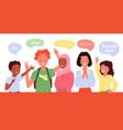 children greeting school kids say hi in different vector image