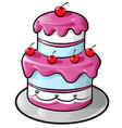 colorful birthday cake with outline vector image
