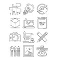 creative line icons process of artists branding vector image vector image