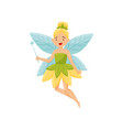 cute beautiful little winged fairy in green dress vector image
