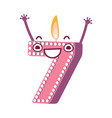 cute birthday candle number character seven vector image vector image