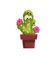 cute cactus character with flowers succulent vector image