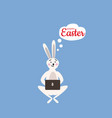 cute easter bunny with laptop cartoon vector image vector image