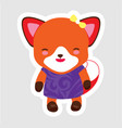 cute little fox in cartoon style wearing purple vector image vector image