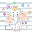 cute princess elephant - cartoon characters vector image vector image