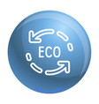 eco recycle arrow icon outline style vector image vector image