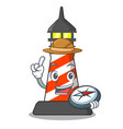 explorer lighthouse on the beach mascot vector image