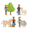farmers man and woman cartoon characters in vector image