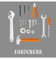 Fasteners and tools flat icons vector image vector image