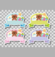 four banners with cute teddybears vector image vector image