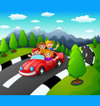 happy family traveling by red car together on natu vector image