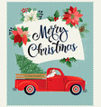 merry christmas and happy new year postcard or vector image vector image