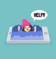 mobile addiction concept young girl drowning in vector image vector image